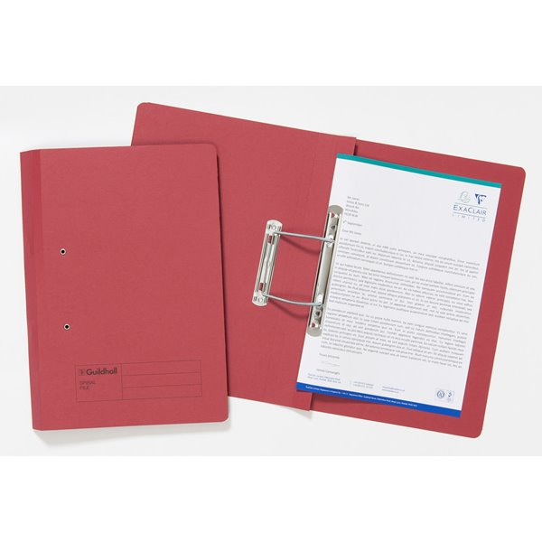 Spring Files Guildhall Sprial File Foolscap 285gsm Red PK25