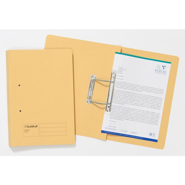 Spring Files Guildhall Sprial File Foolscap 285gsm Yellow PK25
