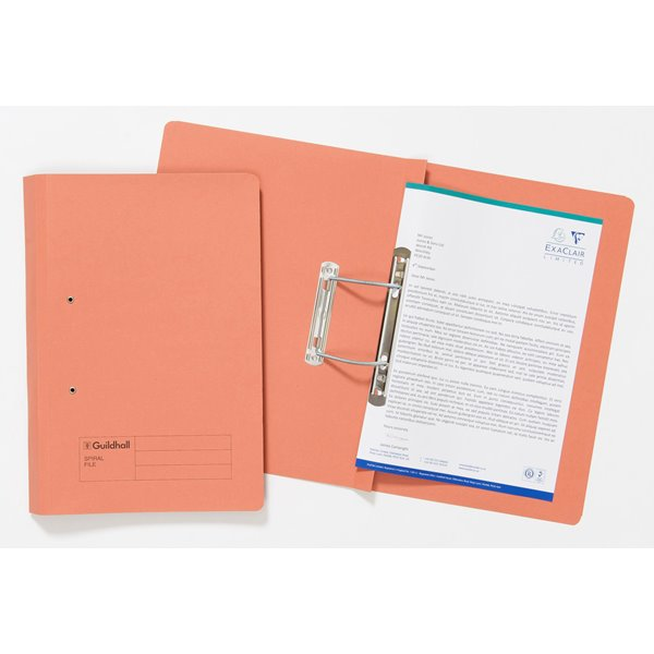 Guildhall Sprial File Foolscap 285gsm Orange PK25