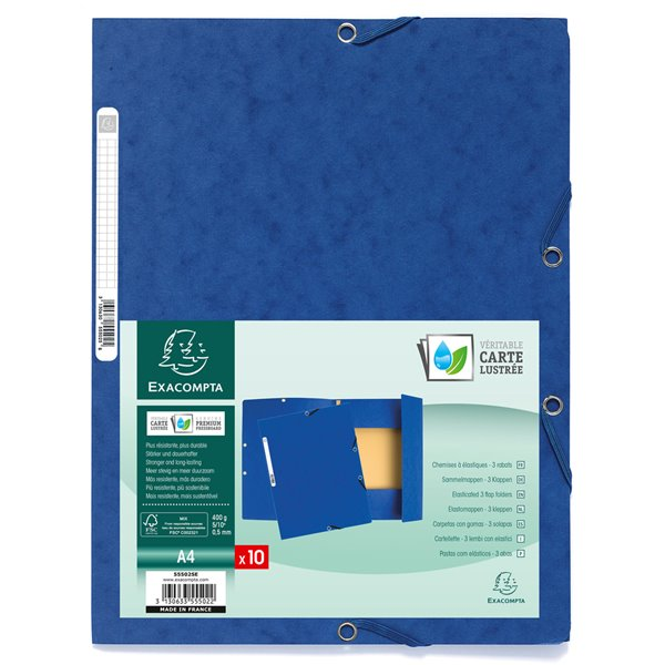 Elasticated Folders Europa Elasticated 3 Flap Folders 400gsm 24x32cm Blue PK10