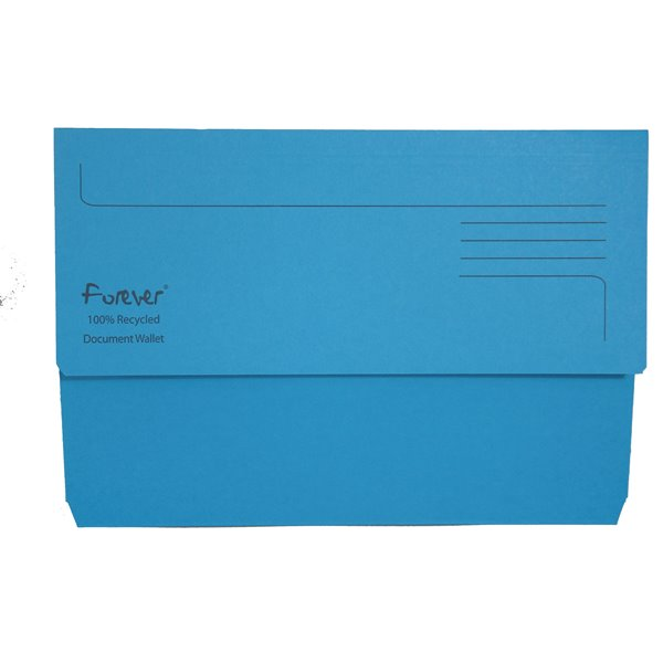 Forever Document Wallets 300gsm 345x245mm Blue PK25