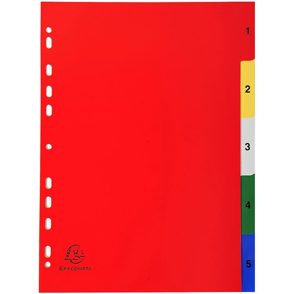 Indexes Exacompta PP A4 Index 1-5 Colour Tabs