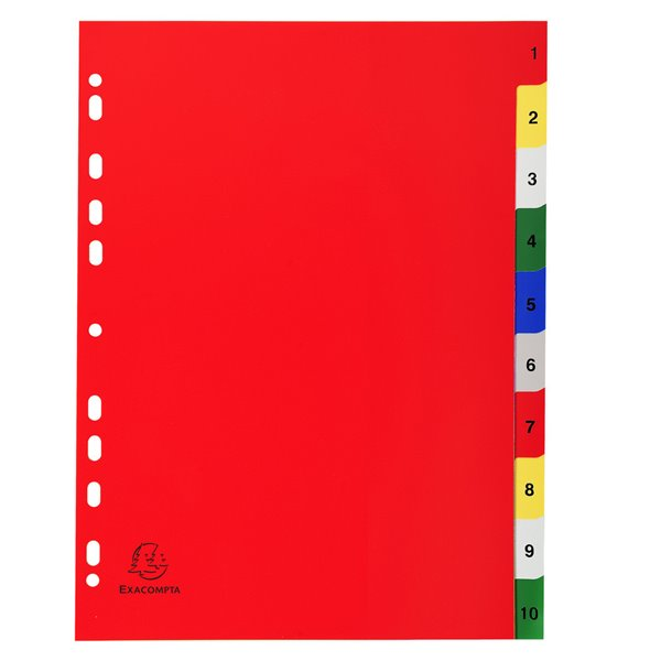 Indexes Exacompta PP A4 Index 1-10 Coloured Tabs