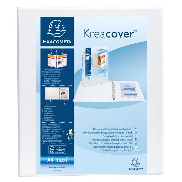Ring Binders Exacompta Kreacover Pres Binder 2D 25mm A4 White PK10
