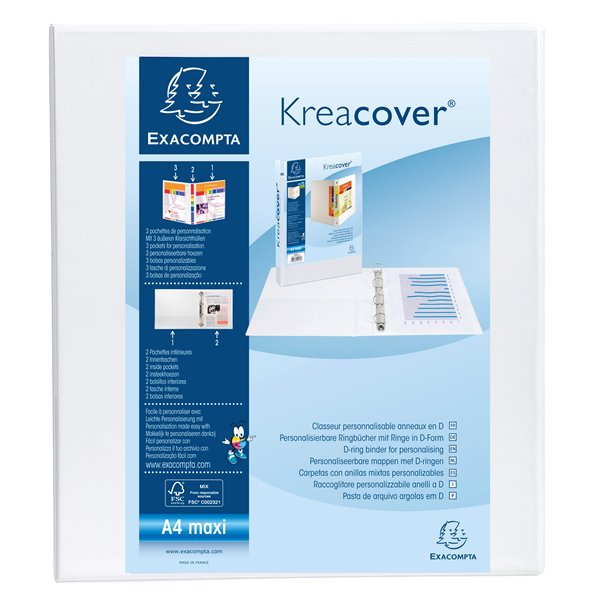 Ring Binders Exacompta Kreacover Pres Binder 2D 40mm A4 White PK10