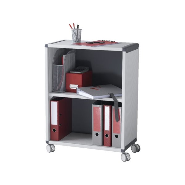 Up To 1200mm High Fast Paper Mobile 2 Compartment Bookcase Grey/Charcoal