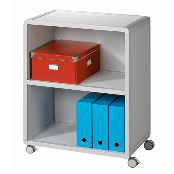 Up To 1200mm High Fast Paper Mobile 2 Compartment Bookcase Grey
