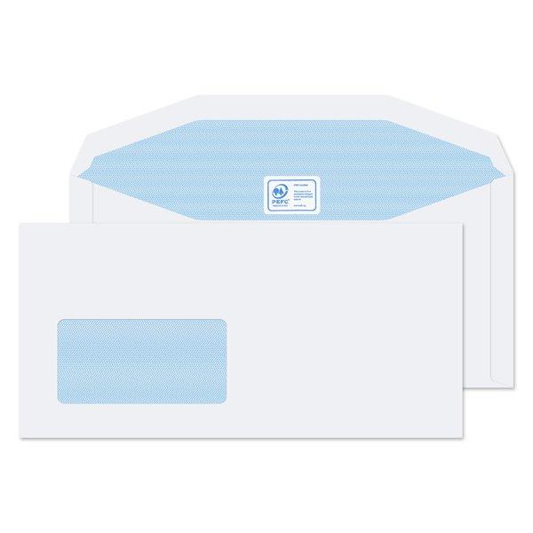 Mailer Gummed Low Wdw White DL Plus 114x235mm 90gsm PK1000