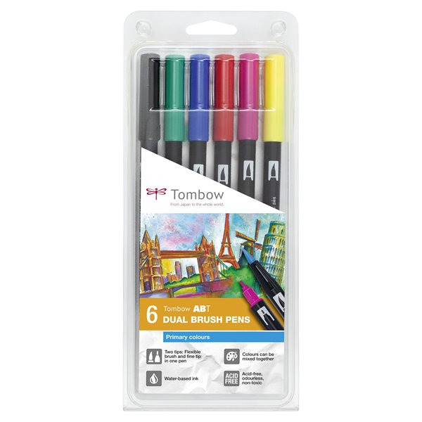 Colouring Pens Tombow ABT Dual Brush Pen 2 tips Primary Colours PK6
