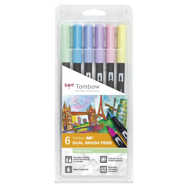 Colouring Pens Tombow ABT Dual Brush Pen 2 tips Pastel Colours PK6