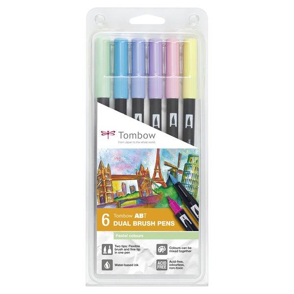 Tombow ABT Dual Brush Pen 2 tips Pastel Colours PK6