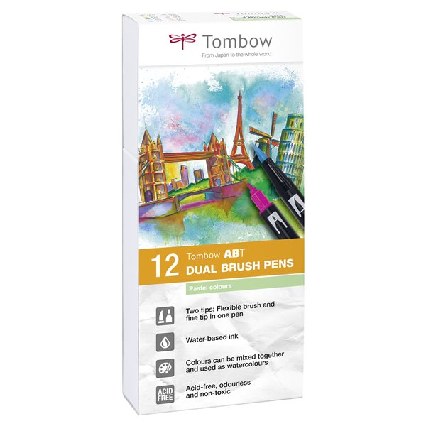 Colouring Pens Tombow ABT Dual Brush Pen 2 tips Pastel Colours PK12