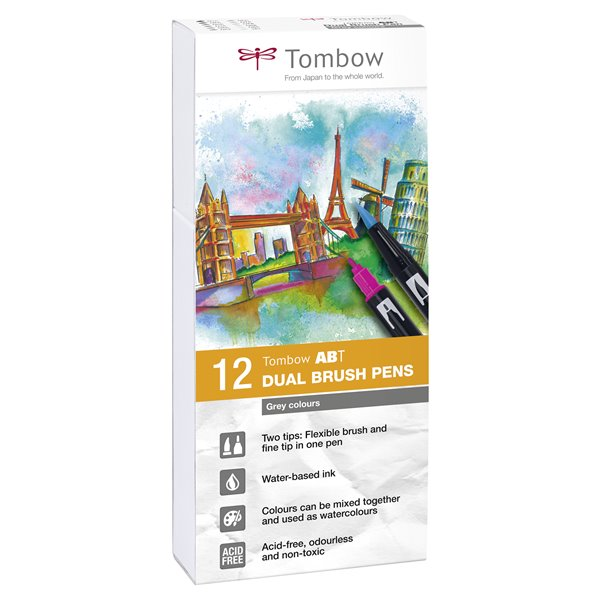 Colouring Pens Tombow ABT Dual Brush Pen 2 tips Grey Tones PK12