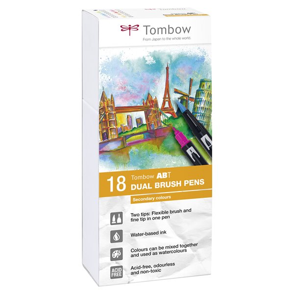 Colouring Pens Tombow ABT Dual Brush Pen 2 tips Secondary Colours PK18