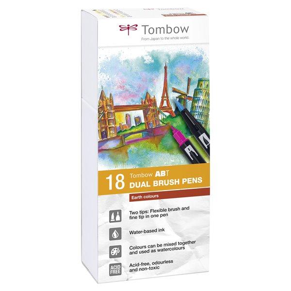 Tombow ABT Dual Brush Pen 2 tips Earth Colours PK18