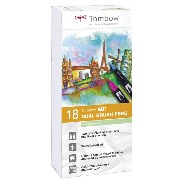 Colouring Pens Tombow ABT Dual Brush Pen 2 tips Pastel Colours PK18