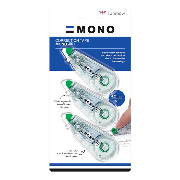 Tombow Mono Air Correction Tape 4.mm x 10m PK2+1 free