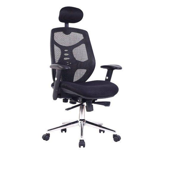 Desk Chairs Polaris High Back Mesh Exec Armchr HdRest & Chrme Base BK