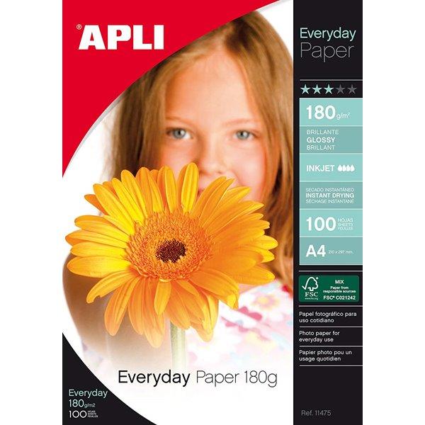 Photo Paper Apli A4 Glossy Paper 180gsm Pk 100