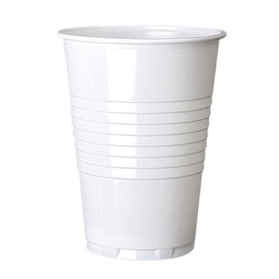 8 Pack 8oz White With Silver Rimmed Disposable Plastic Coffee Cups