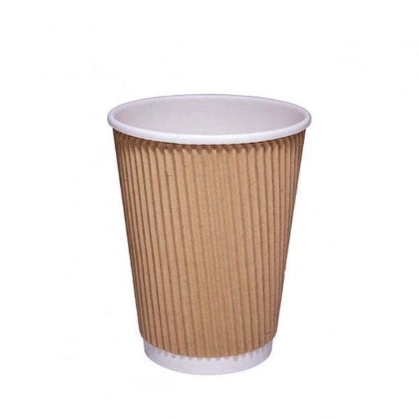 Value 12oz Kraft Ripple Hot Cup O PK25