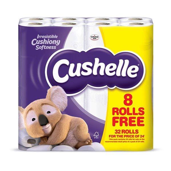 Toilet Tissue & Dispensers Cushelle Toilet Rolls White (Pack 32 for 24)