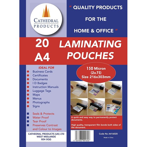 Laminating Pouch A4 150Micron Pk20