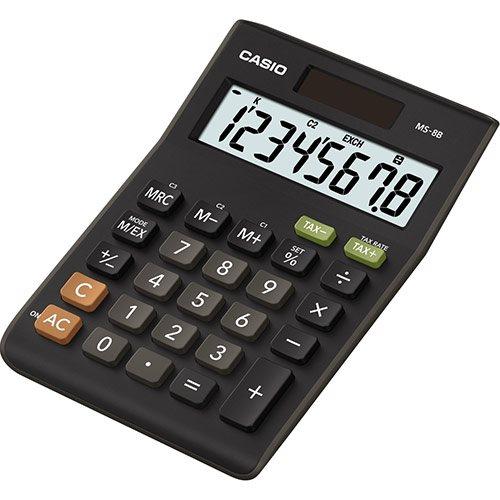 Casio MS-8B 8-Digit Tax and Currency Calculator Black
