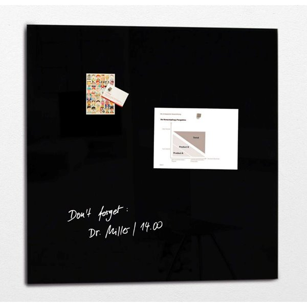 Sigel Artverum Magnetic Glass Board 1000x1000mm Black