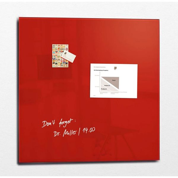 Sigel Artverum Magnetic Glass Board 1000x1000mm Red