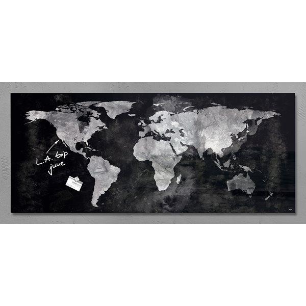 Sigel Artverum Magnetic Glass Board World Map