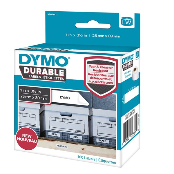 Dymo LW Durable 25mm x 89mm White Poly 100 Labels
