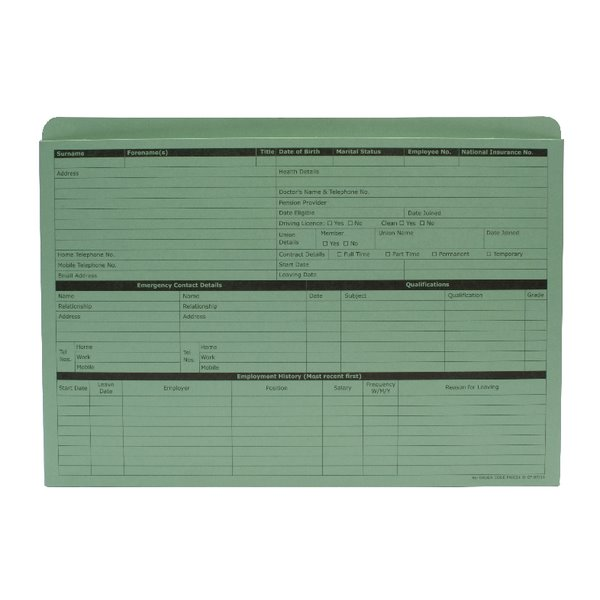 Square Cut Folders Value Personnel Wallet Green Pack of 50