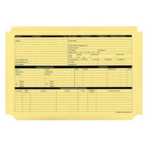 Square Cut Folders Personnel Wallet Yellow Pack of 50
