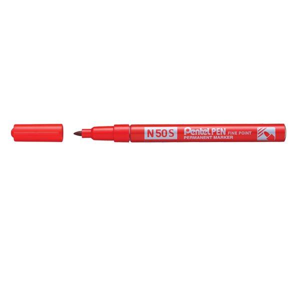 Pentel N50S-B Fine Tip Bullet Marker Pen Red PK12