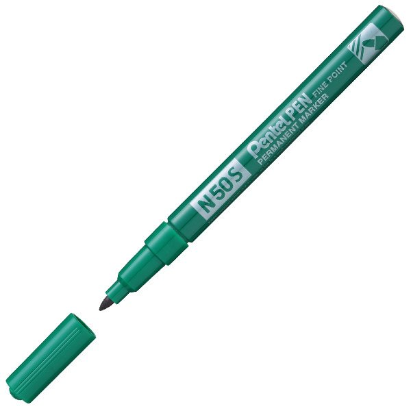 Pentel N50S-D Fine Tip Bullet Marker Pen Green PK12