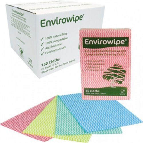 Envirowipe 100% Natural Cleaning Cloths (50x36cm) Yellw PK25
