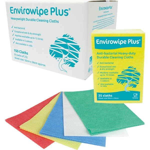 Envirowipe Plus Heavy-Duty Cleaning Cloths (50x36) Blue PK25