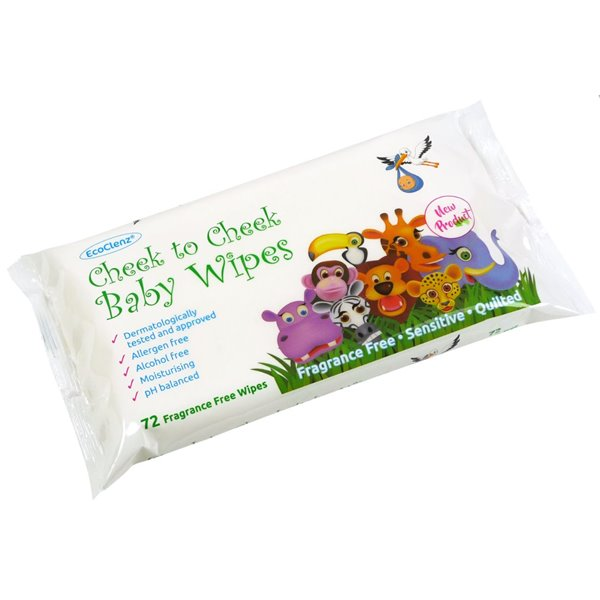 Cleaning Chemicals Cheek to Cheek Baby Wipes Fragrnce Free Flowpack of 72