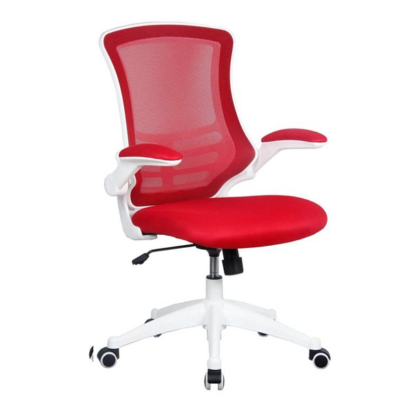 Desk Chairs Luna White Frame Designerer Mesh Chair Red