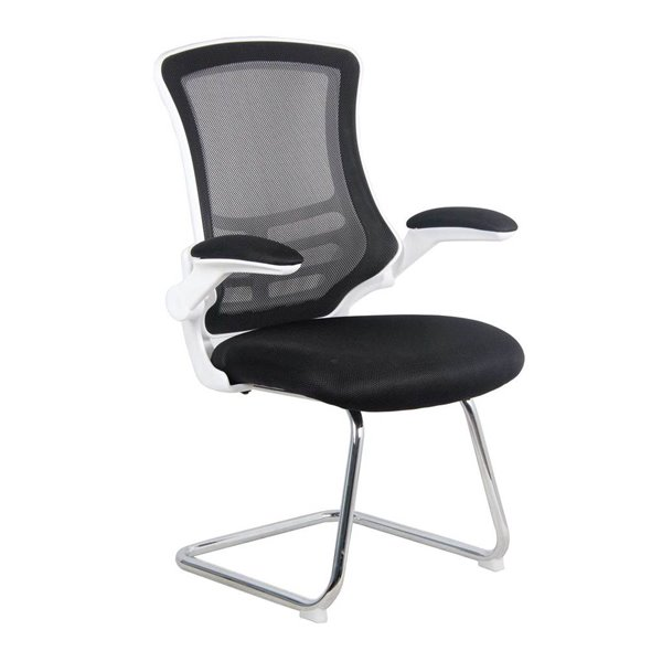 Reception Chairs Luna White Shell Chrome Frame Cantilever Mesh Chair Black