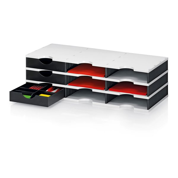Styrodoc Duo Set 9 Compatments WH/BK 3 Drawers