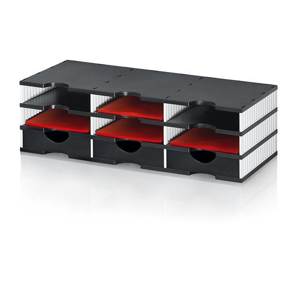 Styrodoc Duo Set 9 Compatments BK/GY 3 Drawers