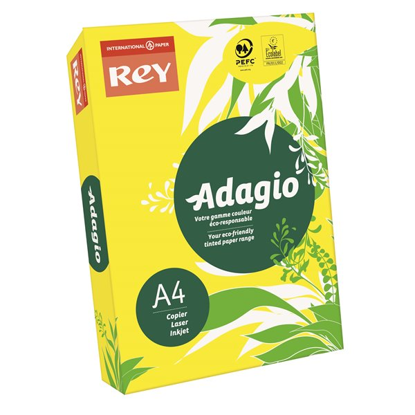 Rey Adagio A4 Paper 80gsm Deep Yellow RM500