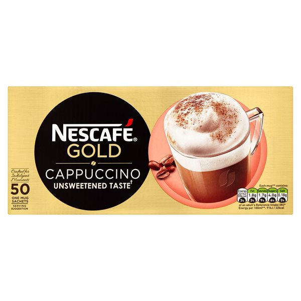 Coffee Nescafe Gold Cappuccino Unsweetened Sachets (Pack 50)