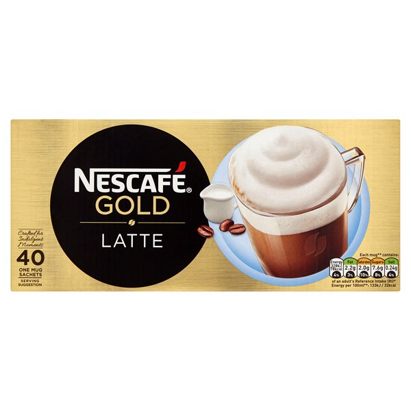 Coffee Nescafe Gold Latte Instant Coffee Sachets (Pack 40)