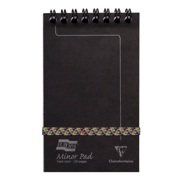 Spiral Note Books Europa Minor Pad Wirebound Top Ruled 120 Page Black 3012Z - (PK10)