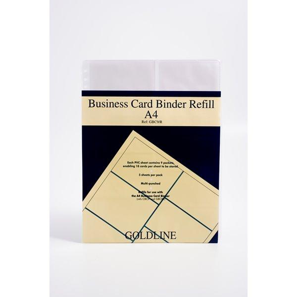 Binders Goldline Business Card Binder Refill A4 GBC9/RZ (PK5)