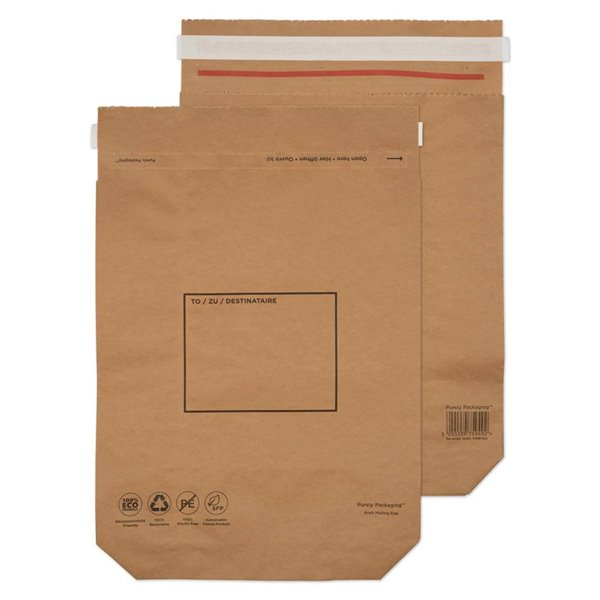 Purely Packaging Brown P&S Kraft Bag 420x340mm PK100