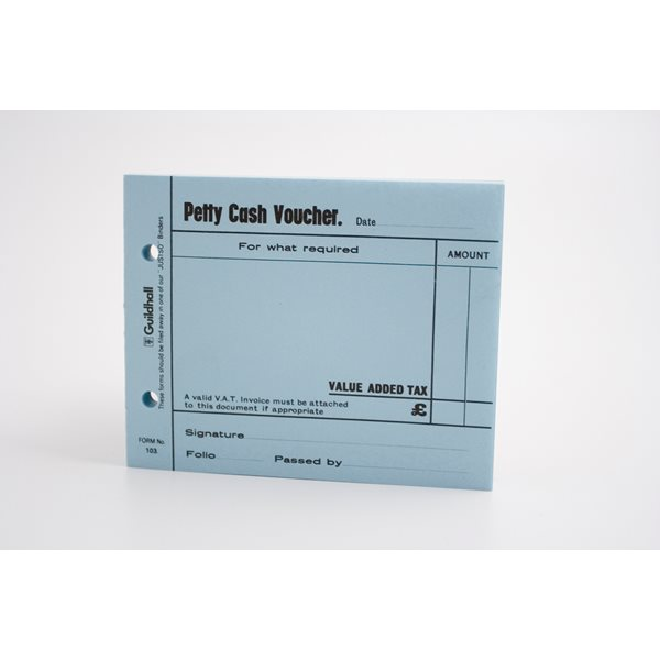 Cash Books Guildhall Petty Cash Voucher Pad Blue PK5